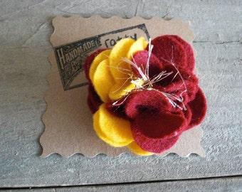 Florida State Seminoles Inspired Scrappy Felt and Yarn Flower Pin Brooch - Garnet & Gold - Handmade