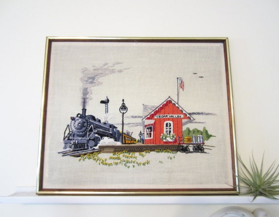 Train Embroidery - Large Vintage Train Station Framed Embroidery - Wall Art - Wall Hanging