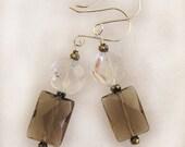 Smoky Quartz and Crystal Dangle Bridal and Fashion Earrings