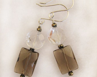 Sale! Smoky Quartz and Crystal Dangle Bridal and Fashion Earrings