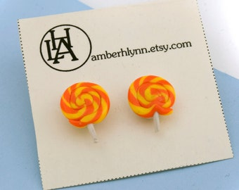 Lollipop stud earrings - cute colorful candy polymer clay - choose your own colors
