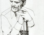 CHET BAKER - Original Signed Paul Nelson-Esch Drawing Art pencil Illustration portraiture jazz trumpeter singer - Free S&H