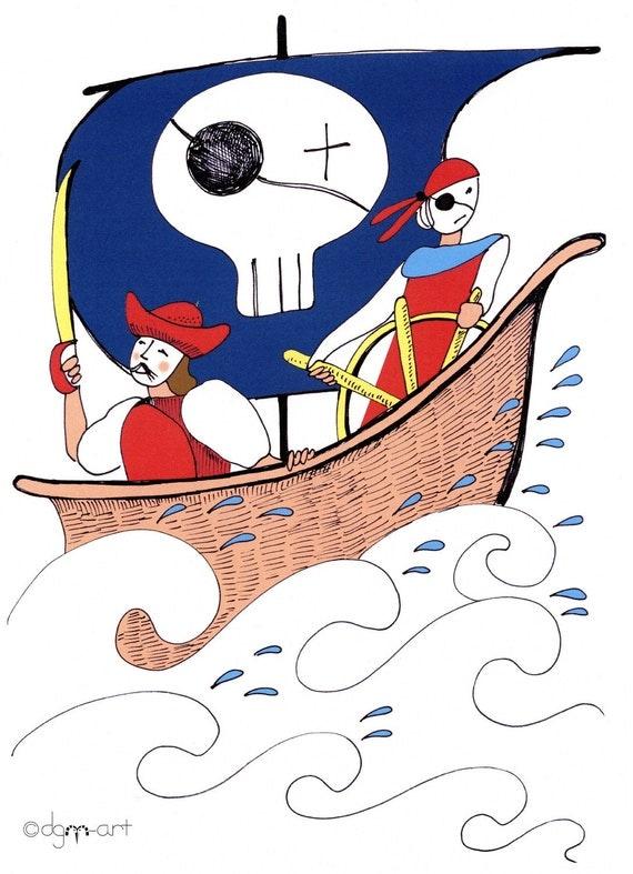 Pirates Drawing/ Print / Illustration