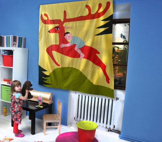 Curtain for Kids - Little boy and his Deer, colorful curtain for children, handmade window curtain/ DEER CURTAIN / yellow window panel