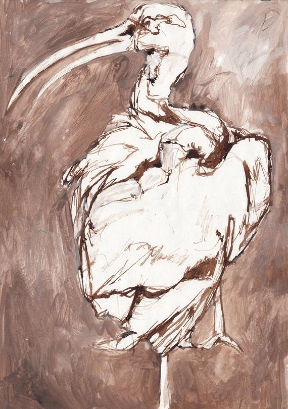 """Sepia Scarlet Ibis - Original Scarlet Ibis Illustration- 11.5"""" x 16.5"""""""