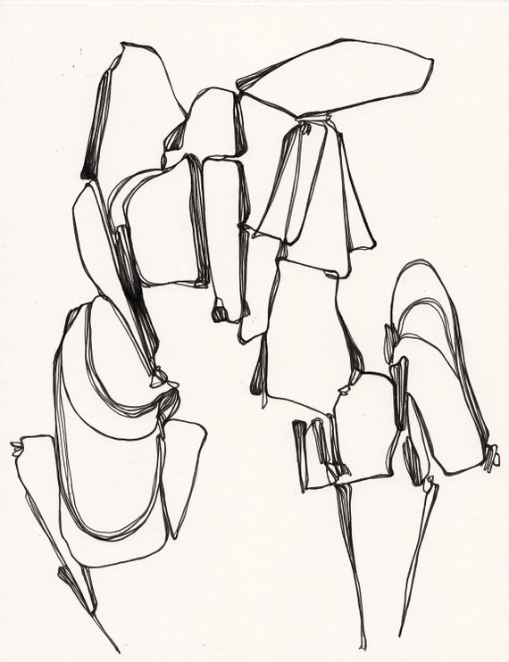 """Walking Puddles - Original Ink Drawing - 8.5"""" x 11"""""""