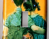 CLEARANCE Girl & Boy Norman Rockwell Sunset Love Retro Resin Switchplate Light Cover