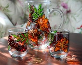 Hand Painted Glass Pitcher Set, sorbus berries and fall foliage