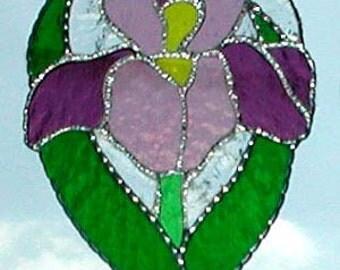 Stained Glass Iris Suncatcher, Floral Sun Catcher, Glass Sun-Catcher, Flower Suncatcher, Glass Sun Catchers, Glass Art, Iris - 9771-MM
