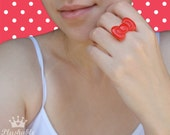 Hello Kitty bow ring in red