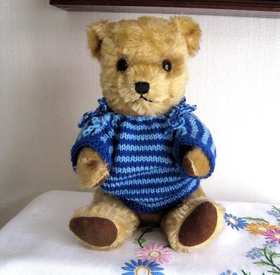 Vintage Mohair Bear Deans Gwentoy Bells in Ears