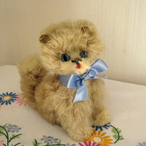 Toy Cat Sheepskin Soft and Furry Fluff 1940's