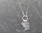 Stamped Kids Necklace with Boy/Girl Charms & Heart - Sterling Silver - Personalized in Hebrew or English - Mom's Necklace, Grandma Necklace