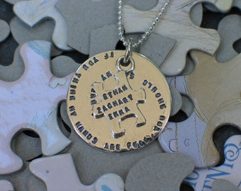 Autism Awareness Puzzle Charm For Him or Her - Personalized  - Sterling Silver - Stamped Autism Sayings, Names, Dates - Teacher's Gift