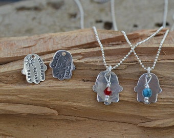 Hamsa Necklace with Birthstone - Hebrew or English Blessings - Bat-Mitzvah, Hanukkah,Good Luck Gift  -Judaica Jewelry