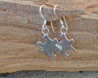 Autism Awareness Earrings -Sterling Silver  - Puzzle Charm Personalized- Support Autism -Teacher Appreciation Gift, Birthday, Mothers Day