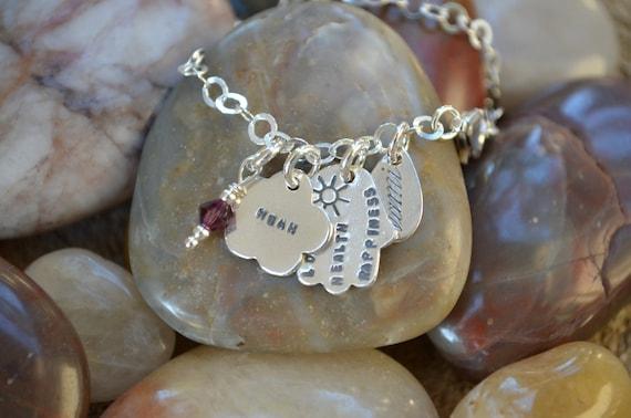 Hamsa Sterling Silver Bracelet - Personalized -Bat-Mitzvah , 12th Birthday, Judaica, Hebrew , Israeli Jewelry, Good Luck Charm, Evil Eye