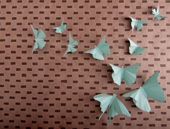 3D Wall butterflies in Aqua Paper for Home Art Decor, Nursery, Children's Room