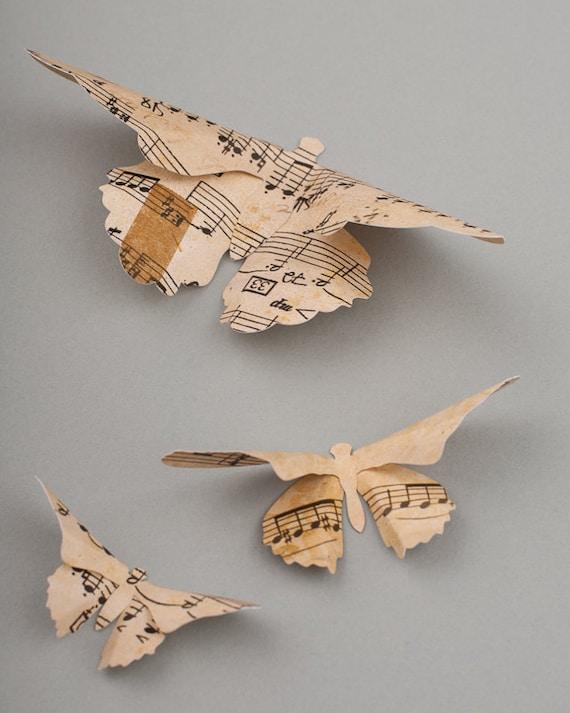 3D Butterfly Wall Art: Vintage Sheet Music Paper Butterflies for Wall Decor, Nursery, Children's Room