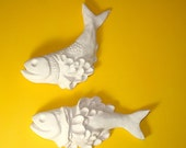 Ceramic Wall Art -- Frilled White Fish - Faux Taxidermy -- Hanging Garden Wall Sculptures