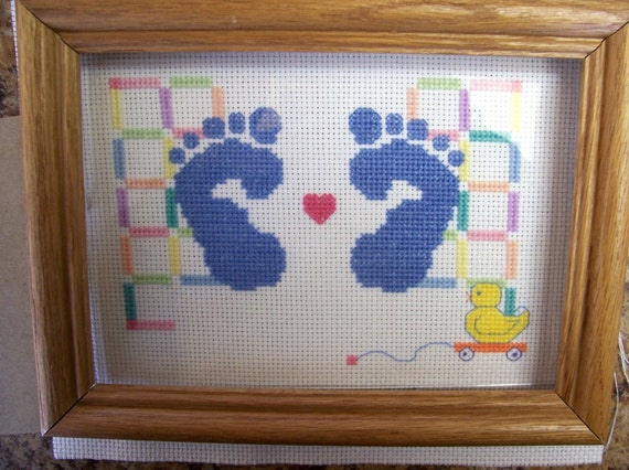 Birth Announcement for Boy in Counted Cross Stitch with or without Frame - Birth Record, Completed Cross Stitch Birth Announcement