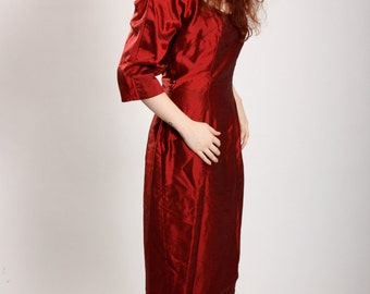 Vintage 1950s reproduction red burgundy wiggle dress