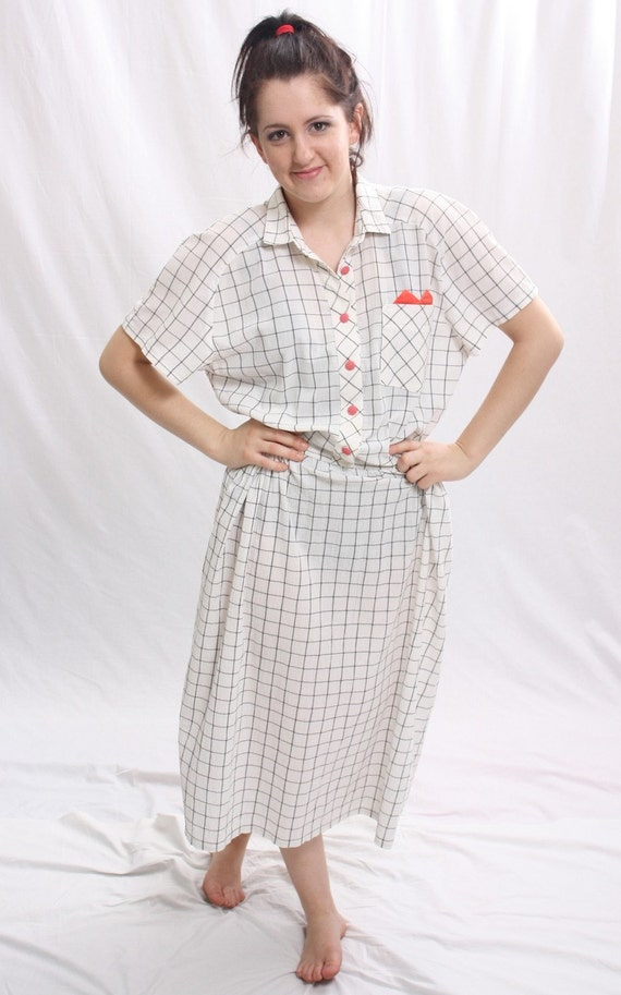 Vintage 1980s White Blue Checker Dress