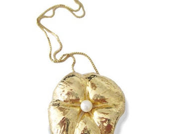 Gold Flower Pendant Statement With Pearl - art, blossom, seduce, natural, floral, gold necklace, new designer necklace