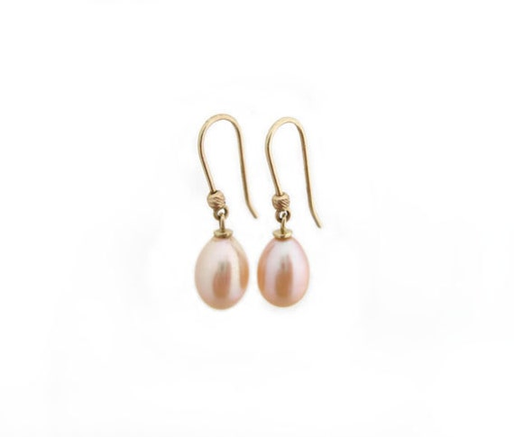 Fantastic & Romantic Pink Pearl Earrings You Won't Take Off -  Solid 14k Yellow Gold - Wedding Earrings - Pearl Earrings For Bride - Bride
