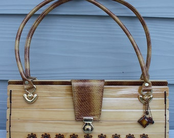 Handcrafted Wood and Leather Purse - Natural Wood And Golden Snake Print Leather