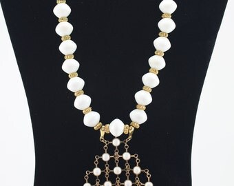 Handcrafted OOAK White Beaded Statement Necklace Choker