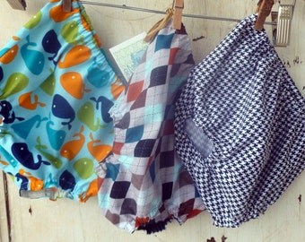 Boys Diaper Cover - Set of Three - You Choose Fabric - NB to 24 Months