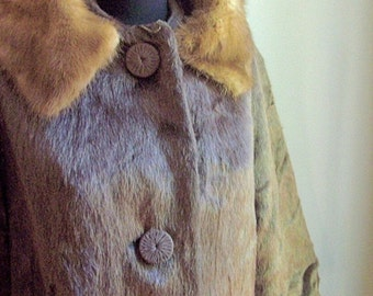 Brazotta Faux Beaver Fur Coat Real Mink Collar 1960s CLEARANCE