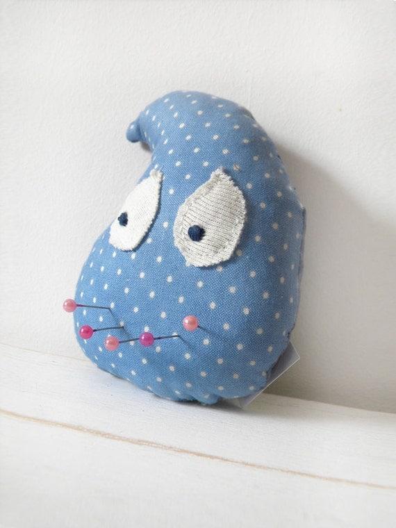 Raindrop- Baby blue polka dot toy doll-ornament -pincushion
