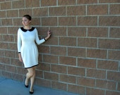White Peter Pan Dress Black White - made to order - lots of colors