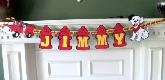 Firetruck Birthday Banner with Name Banner