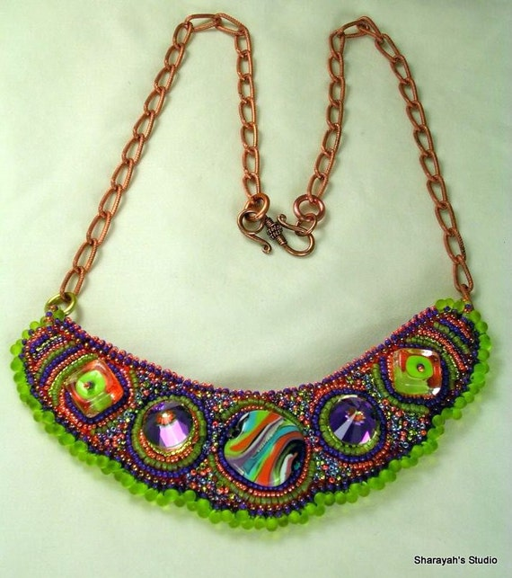Orange Tango  Bead Embroidered and Embroidery Necklace: SALE 99.00 Was 195.00