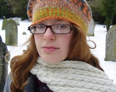 Handknit Fair Isle Little Love Birds Tam o' Shanter (orange with yellowy greens and mauvey greys)