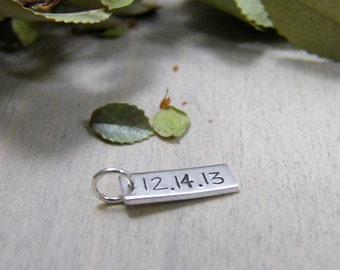 wedding, anniversary, relationship date sterling silver hand stamped charm tag