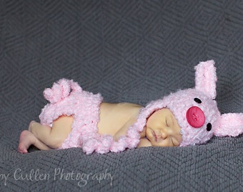 Baby Hat and Cover -  Piggy  Hat - Baby Piggy Hat and Diaper Cover Set - Baby Girl Costume Set - Baby Pig Hat - by JoJosBootique
