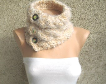 Cable Knit Cowl Neck warmer, Neck collar Women Wool Acrylic Ivory, Buttons Cuddly, Winter Accessories, Fall fashion, Christmas Gift idea