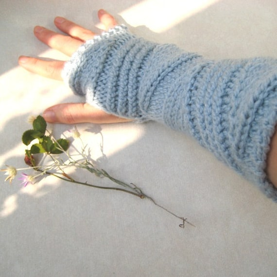 Chunky Cable Fingerless Gloves Long Fingerless Mittens, Knitted Woman Arm warmers, Wool Sky blue, Winter accessory girl, Christmas gift idea