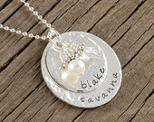 Personalized Necklace - Sterling Silver - Double Stacked - Name Pendant - Hammered - Mother's Necklace