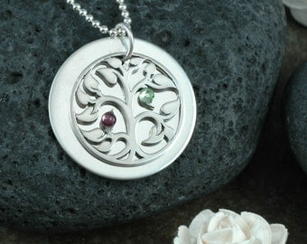Family Tree Necklace with Birthstones - Sterling Silver - Mother's Necklace