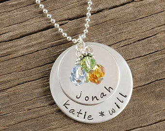 Personalized Mommy Necklace - Hand Stamped - sterling silver - Double Stack with birthstones