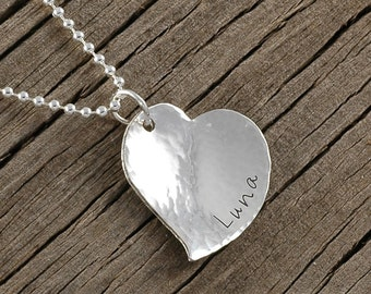 Personalized Heart Necklace - Hand Stamped - Hammered and domed - Engraved necklaces