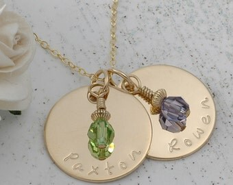 """Personalized  Gold charm necklace - Hand Stamped - with birthstones - two discs - 3/4"""""""