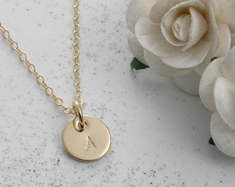 "Minimalist - Tiny hand stamped Gold-filled Initial Necklace - 3/8"" round disc"