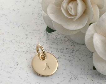 3/8 inch gold filled round disc - initial charm