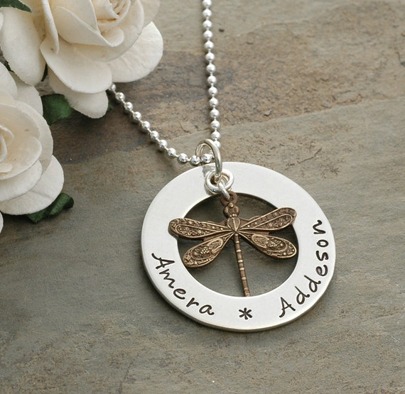 Personalized Hand Stamped Necklace - Washer style with dragonfly charm